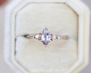Lavender marquise sapphire five stone ring