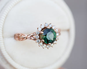 1.36ct round green sapphire twisted leaf ring