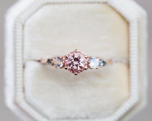peach sapphire five stone ring, sailor moon inspired engagement ring