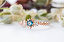 Load image into Gallery viewer, London blue topaz and moissanite barnacle gold engagement ring, twig nature engagement ring, gold moissanite ring