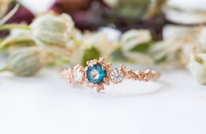 London blue topaz and moissanite barnacle gold engagement ring, twig nature engagement ring, gold moissanite ring