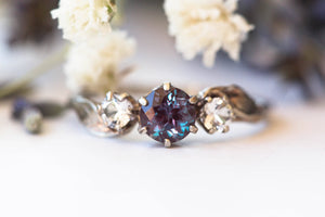 14k gold chatham alexandrite three stone leaf engagement ring