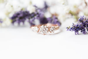 Moissanite and gold twig engagement ring, twig nature moissanite ring, three stone ring, 14k gold engagement ring