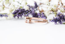 Load image into Gallery viewer, Moissanite and gold twig engagement ring, twig nature moissanite ring, three stone ring, 14k gold engagement ring
