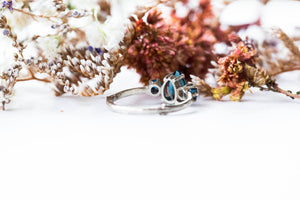 London blue topaz 14k gold twig engagement ring, london blue engagement ring, three stone rustic engagement ring, topaz gold twig ring