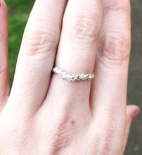 Load image into Gallery viewer, Sterling silver barnacle twig ring, sterling silver nature wedding band, wedding ring, barnacle ring, twig wedding band