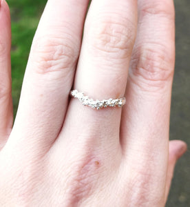 Sterling silver barnacle twig ring, sterling silver nature wedding band, wedding ring, barnacle ring, twig wedding band