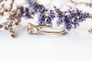 Morganite and moissanite three stone engagement ring, gold morganite engagement ring, trillion three stone ring, moissanite gold ring