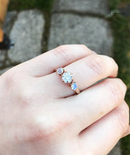 Load image into Gallery viewer, Moissanite and moonstone 14k rose gold engagement ring, rose gold moonstone engagement ring, moonstone engagement ring, unique engagement