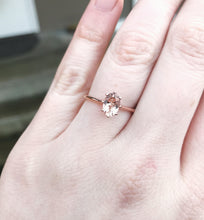 Load image into Gallery viewer, Solitaire morganite 14k gold engagement ring, morganite rose gold engagement ring, unique engagement ring, classic morganite engagement ring