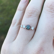 Load image into Gallery viewer, Cluster alexandrite 14k gold engagement ring