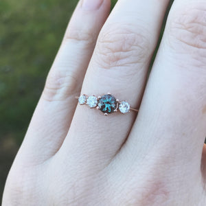 Cluster alexandrite 14k gold engagement ring