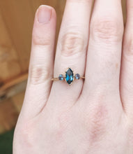 Load image into Gallery viewer, Marquise London blue topaz 14k three stone engagement ring, gold engagement ring, unique alexandrite topaz three stone ring, marquise ring