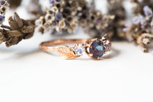Load image into Gallery viewer, Alexandrite moonstone leaf engagement ring, three stone twig ring