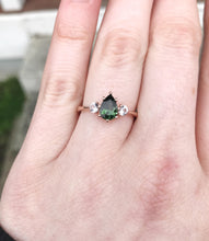 Load image into Gallery viewer, Tourmaline sapphire three stone engagement ring, made to order in 2-3 weeks