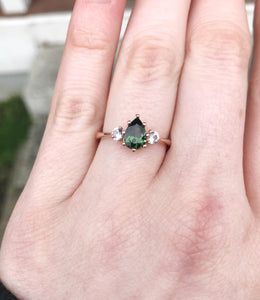 Tourmaline sapphire three stone engagement ring, made to order in 2-3 weeks