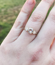 Load image into Gallery viewer, Morganite and moissanite three stone engagement ring, gold morganite engagement ring, trillion three stone ring, moissanite gold ring