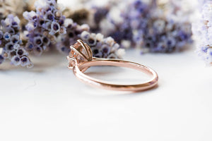 Solitaire morganite 14k gold engagement ring, morganite rose gold engagement ring, unique engagement ring, classic morganite engagement ring