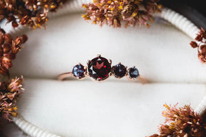 Cluster garnet alexandrite 14k gold engagement ring, garnet cluster engagement ring, unique engagement ring, alexandrite engagement ring