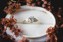 Load image into Gallery viewer, Moissanite three stone engagement ring, gold moissanite engagement ring, classic trillion three stone ring, gold classic engagement ring