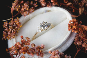 Moissanite three stone engagement ring, gold moissanite engagement ring, classic trillion three stone ring, gold classic engagement ring