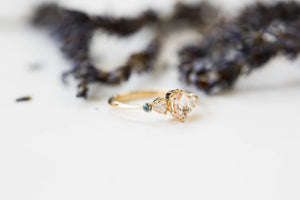 Morganite oval 14k gold cluster five stone engagement ring, 14k gold vintage style ring, cluster engagement ring, alternative engagement