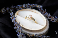 Load image into Gallery viewer, Morganite oval 14k gold cluster five stone engagement ring, 14k gold vintage style ring, cluster engagement ring, alternative engagement