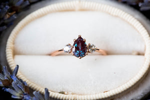 Pear alexandrite and sapphire three stone engagement ring, vintage inspired setting, made to order in 2-3 weeks