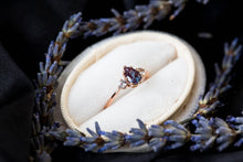 Load image into Gallery viewer, Pear alexandrite and sapphire three stone engagement ring, vintage inspired setting, made to order in 2-3 weeks