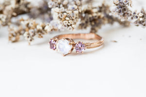 Moonstone amethyst 14k gold twig engagement ring, moonstone gold engagement ring, lavender amethyst ring, gold twig ring, vintage inspired