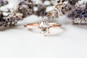Solitaire oval moissanite 14k gold engagement ring, moissanite rose gold engagement ring, moissanite vintage style engagement ring, gold