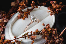 Load image into Gallery viewer, Solitaire oval moissanite 14k gold engagement ring, moissanite rose gold engagement ring, moissanite vintage style engagement ring, gold