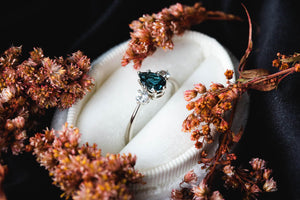 Three stone london blue topaz sapphire engagement ring, pear engagement ring, pear sapphire three stone ring, 14k gold sapphire engagement