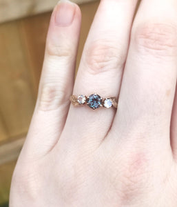 Alexandrite moonstone leaf engagement ring, three stone twig ring