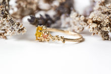 Load image into Gallery viewer, Yellow sapphire 14k gold barnacle engagement ring, sunset ring