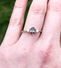 Load image into Gallery viewer, Alexandrite three stone twig ring, trillion oval ring
