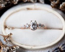 Load image into Gallery viewer, Oval moissanite cluster engagement ring, oval round stone cluster ring, moissanite engagement ring, unique engagement ring, 14k gold ring