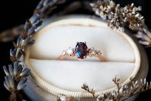 Load image into Gallery viewer, Oval alexandrite cluster engagement ring, oval round stone cluster ring, alternative engagement ring, alexandrite oval ring, gold oval ring