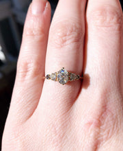 Load image into Gallery viewer, Oval moissanite cluster five stone engagement ring, 14k gold vintage style ring, cluster engagement ring, alternative engagement, fairytale