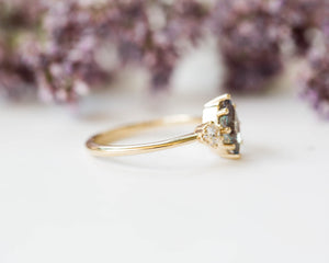Marquise alexandrite 14k three stone engagement ring, gold engagement ring, moissanite alexandrite ring,evenstar ring, vintage inspired ring
