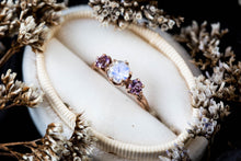 Load image into Gallery viewer, Moonstone amethyst 14k gold twig engagement ring, moonstone gold engagement ring, lavender amethyst ring, gold twig ring, vintage inspired