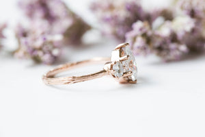 Pear moissanite three stone twig engagement ring, 14k gold pear engagement ring, alternative engagement ring, twig engagement ring,