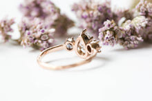 Load image into Gallery viewer, Pear moissanite three stone twig engagement ring, 14k gold pear engagement ring, alternative engagement ring, twig engagement ring,
