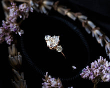 Load image into Gallery viewer, Pear moissanite three stone engagement ring, pear engagement ring, three stone ring, rose gold moissanite ring, alternative engagement ring