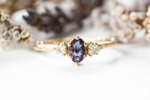 Alexandrite three stone twig ring, trillion oval ring
