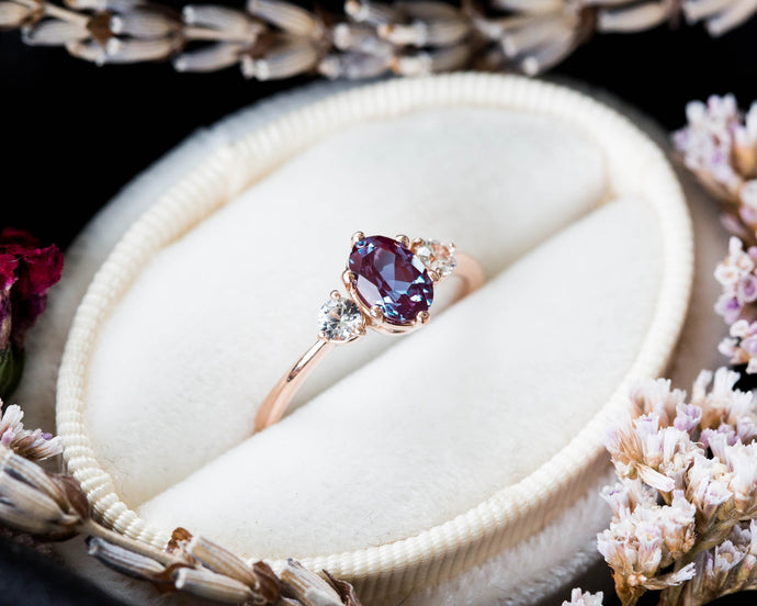 Oval alexandrite and sapphire three stone 14k gold engagement ring, made to order in 2-3 weeks
