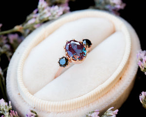 Alexandrite diamond three stone engagement ring, oval diamond ring