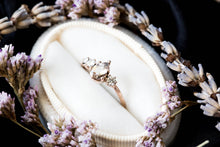 Load image into Gallery viewer, Morganite cluster gold engagement ring, 14k gold twig engagement ring, unique engagement, moissanite engagement ring, diamond alternative