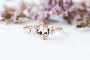 Morganite cluster gold engagement ring, 14k gold twig engagement ring, unique engagement, moissanite engagement ring, diamond alternative