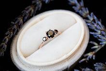 Load image into Gallery viewer, Black diamond three stone engagement ring
